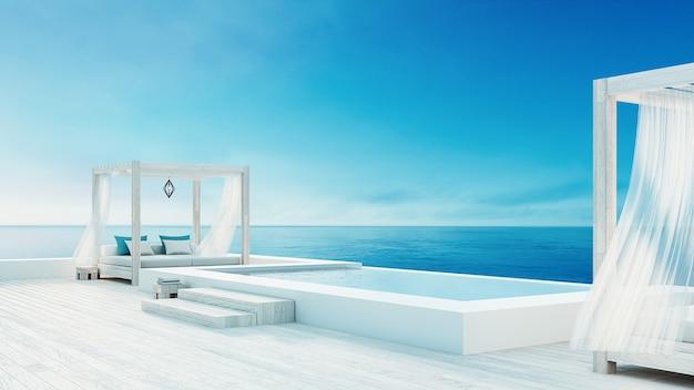 Salón de playa: vista al mar y al mar de la villa oceánica para vacaciones y verano / render 3d al aire libre