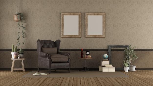 Salón retro con sillón de cuero.