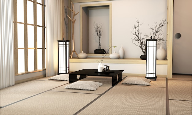 Salón ryokan de estilo japonés con suelo de tatami y decoración. renderizado 3d