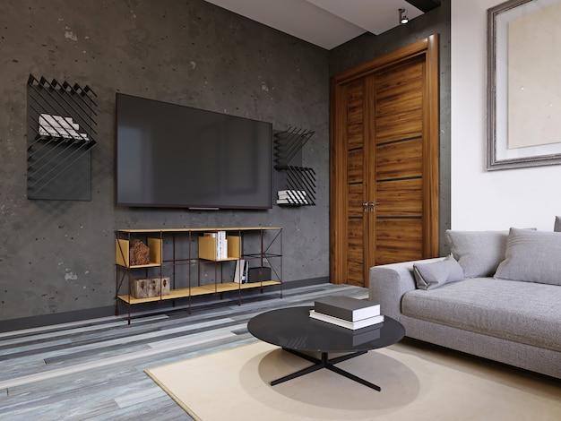 Salón tipo loft con soporte para tv de diseño amarillo y tv con estantes. representación 3d.