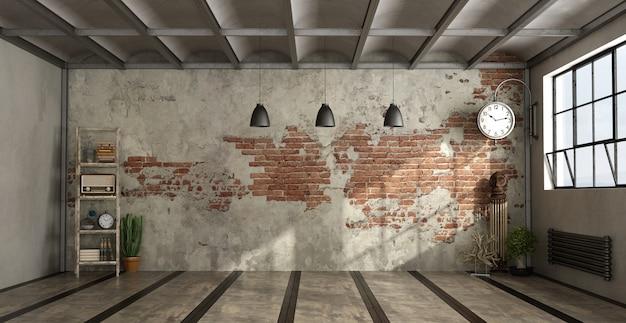 Salón vacío en estilo industrial