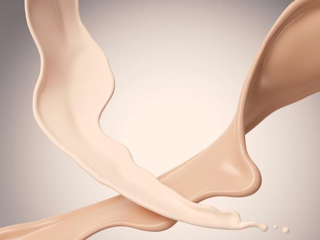 Salpicadura líquida de la fundación cosmética, representación 3d.
