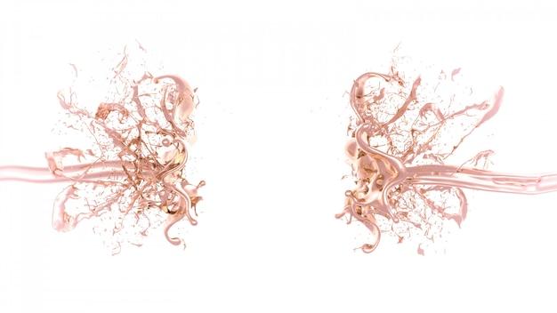 Una salpicadura de líquido espeso y dorado. representación 3d