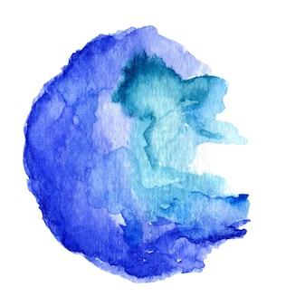 Salpicaduras de acuarela abstracta azul sobre fondo blanco.