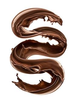 Salpicaduras de chocolate aislado sobre fondo blanco.