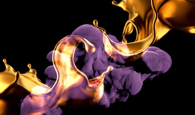 Salpicaduras de oro y humo sobre fondo negro. representación 3d