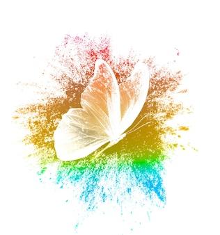 Salpicaduras de pintura de color con mariposa aislado sobre fondo blanco. imprimir para el diseñador