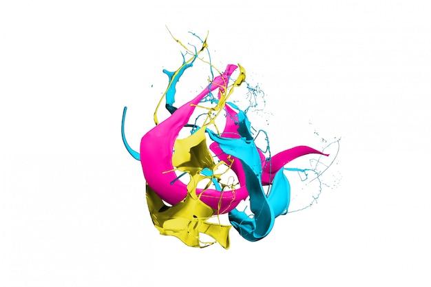 Salpicaduras de pintura de colores aislados sobre fondo blanco.