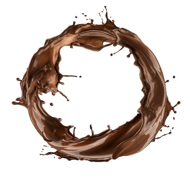 Salpicaduras redondas de chocolate aislado sobre fondo blanco.