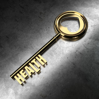 Salud - llave de oro sobre fondo negro metálico. representación 3d