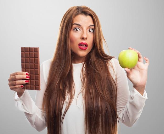Salud de las personas de chocolate dieta preocupado