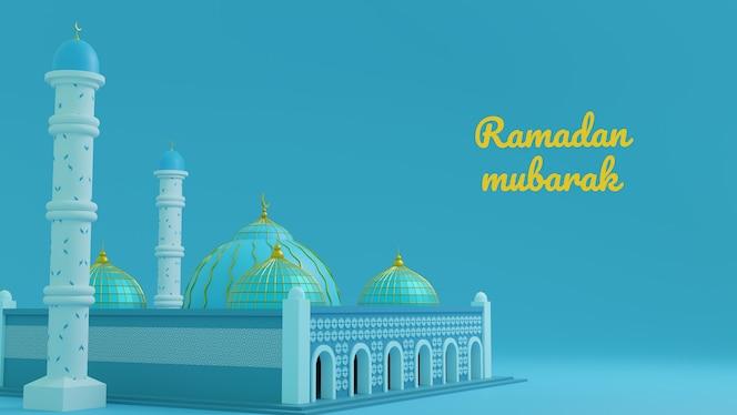 Saludo de ramadán kareem con mezquita 3d en azul claro