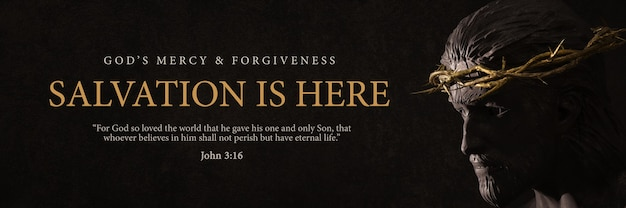 La salvación está aquí diseño de banner jesucristo con corona de espinas estatua representación 3d