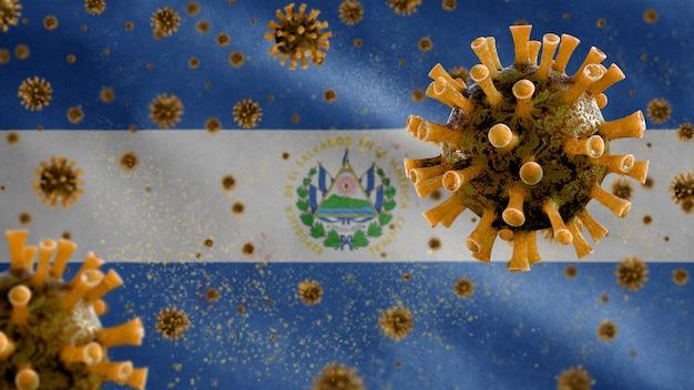 El salvadoreño ondeando la bandera coronavirus microscopio virus