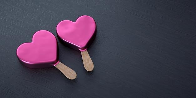 San valentín, dos helados con forma de corazón.