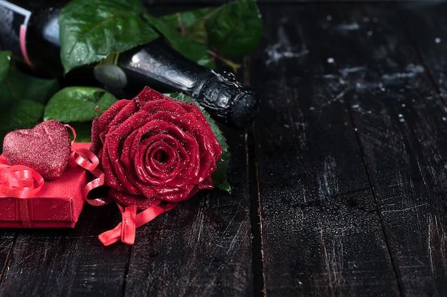 San valentín rosas y champagne