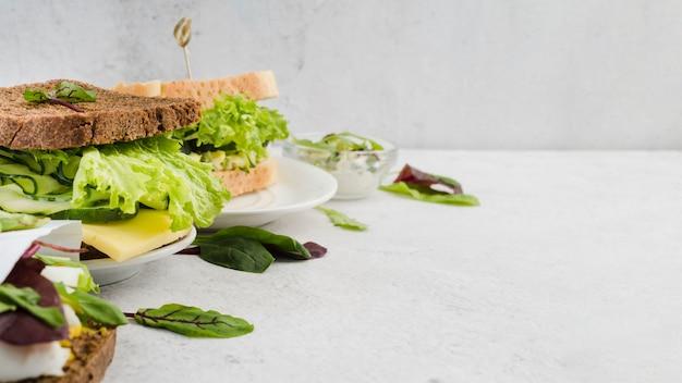 Sandwiches de alto ángulo con verdosas y huevas