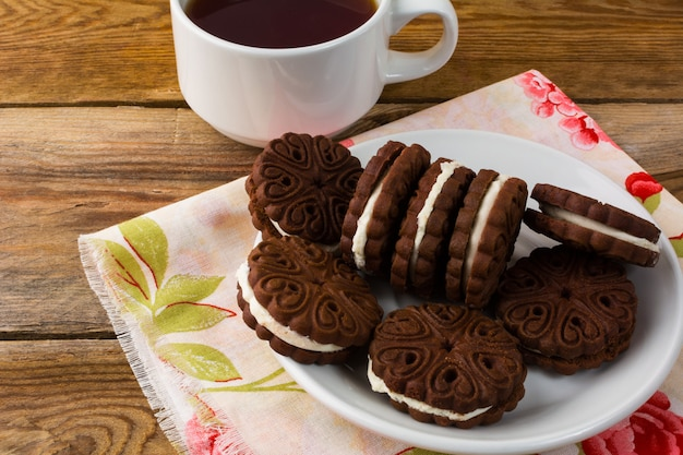 Sandwiches caseros de chocolate, vista superior