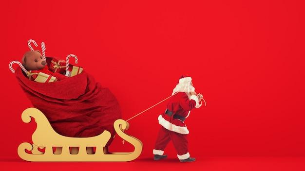 Santa claus arrastra un gran saco lleno de regalos con un trineo dorado sobre un fondo rojo.
