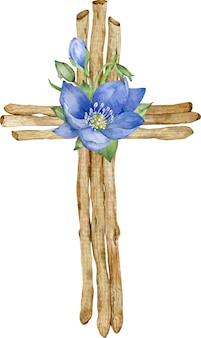 Santa cruz de cristo. ilustración acuarela de cruz de madera hecha de palos y primeras flores de primavera azul.