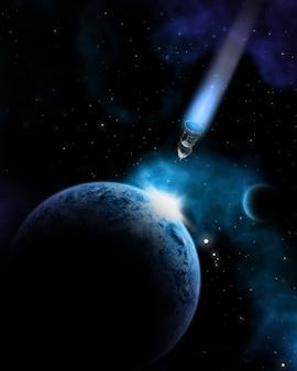 Satélite aproximándose a la tierra