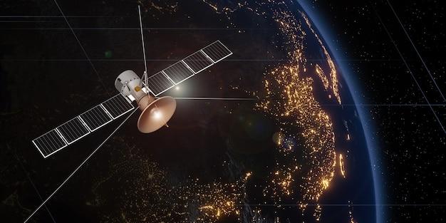 Satélite de comunicación flotando en el espacio con un globo de fondo transmitiendo vía satélite