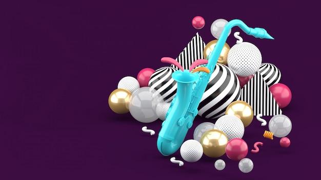 Saxofón azul rodeado de bolas de oro en púrpura. render 3d
