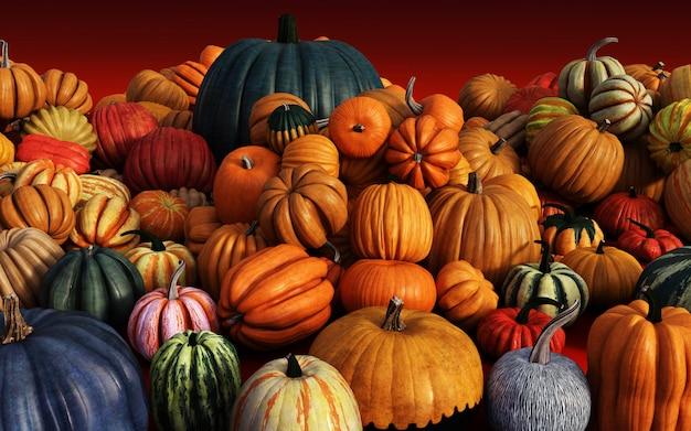 Scary jack o lantern halloween pumpkins en el mercado del agricultor