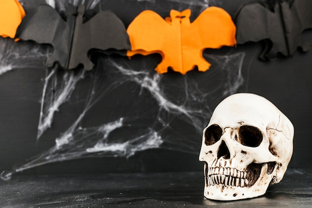 Scary skull with handicraft web and paper bats