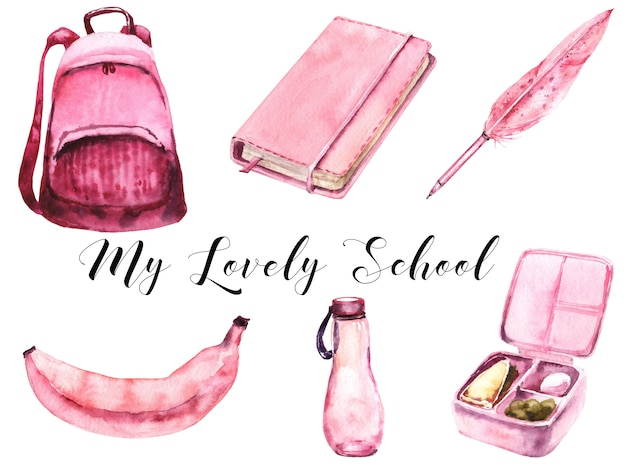 School girls pink supplies set acuarela. comida escolar
