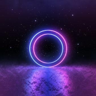 Sci fi luz de neón azul rosa, paisaje cósmico