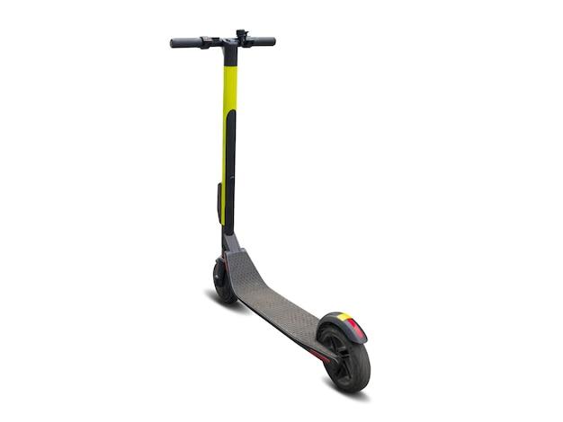Scooter eléctrico scooter moderno aislado sobre fondo blanco. concepto de transporte alternativo ecológico.