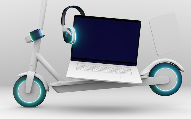 Scooter y laptop para cyber monday