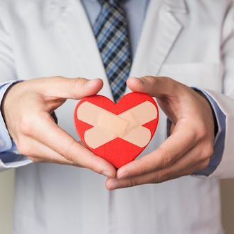 Sección media de un médico masculino que muestra un corazón rojo con vendaje cruzado