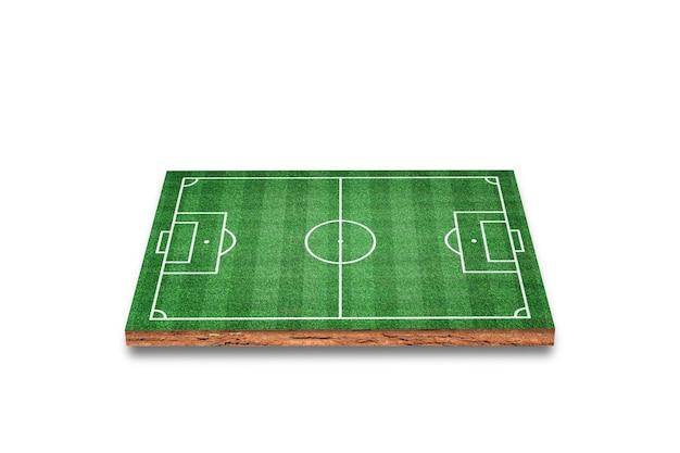 Sección transversal cúbica del suelo con campo de fútbol, hierba verde, aislado en blanco