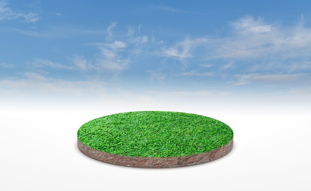 Sección transversal del suelo del suelo con pasto verde sobre el cielo azul