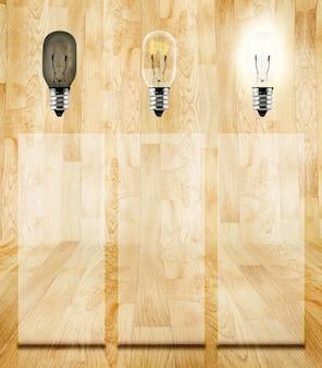 Secuencia de pensamiento de ideas y bloque de vidrio para agregar información en la sala de parquet de madera