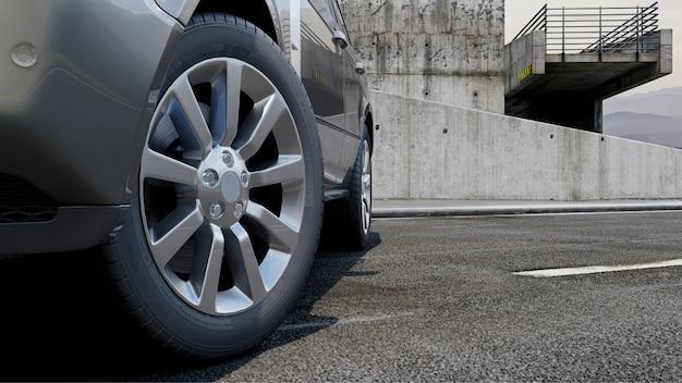 El sedán 3d del automóvil vale en una representación 3d de carretera.