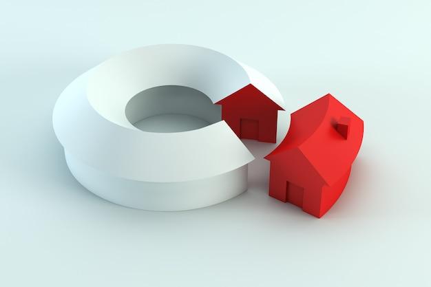 Segmento de la casa en el diagrama conceptual, render 3d