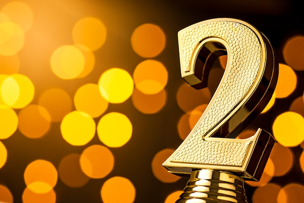 Segundo puesto trofeo de premio de oro