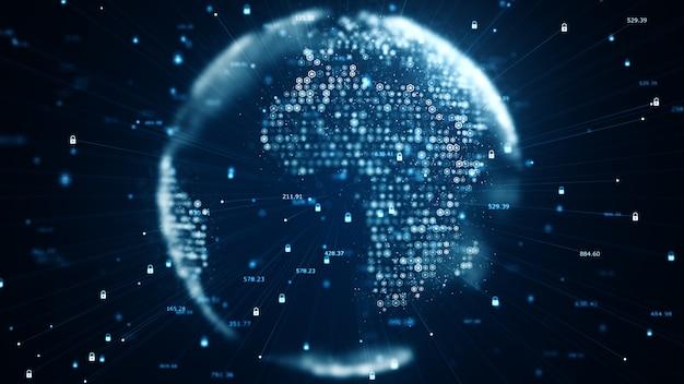 La seguridad cibernética y el concepto de comunicación global. análisis de la información. tecnología de datos código binario en red que transmite conectividad, protocolo de protección de datos e información.