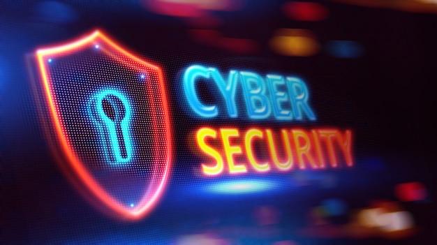 Seguridad cibernética en pantalla led.