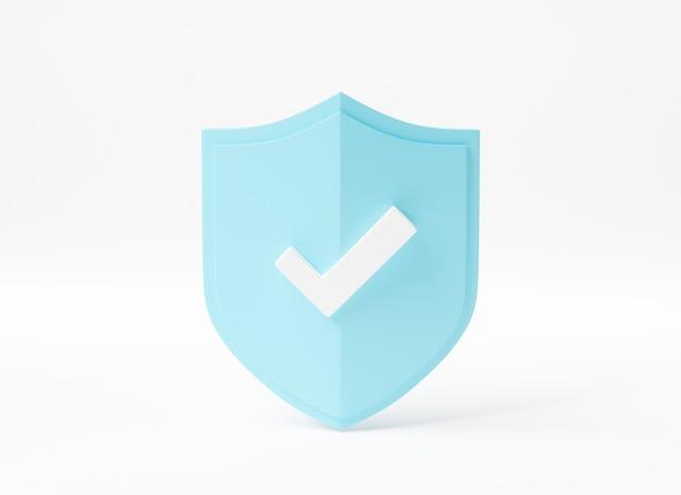 Seguridad del escudo abstracto del candado de protección con la ilustración de la representación 3d del icono del símbolo de los datos de la cerradura