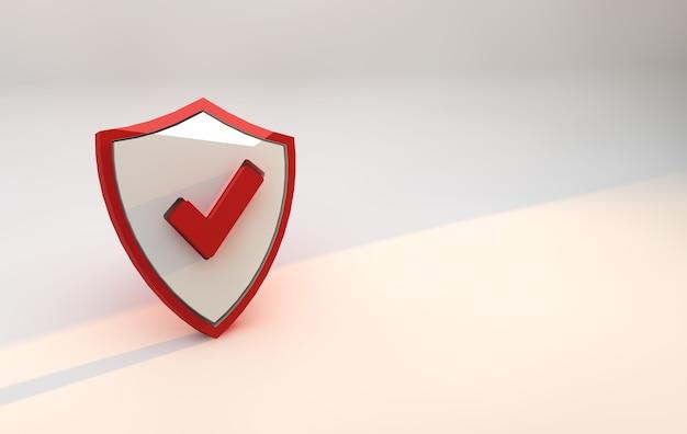 Seguridad del escudo rojo. concepto en línea de seguridad cibernética