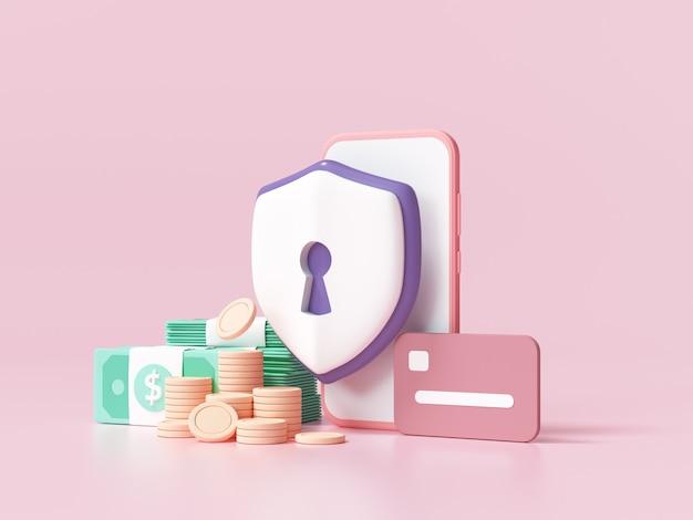 Seguridad financiera, protección de pagos en línea, transacciones en línea, banca en línea y concepto de compras en línea