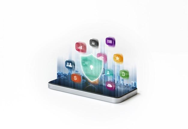 Seguridad del teléfono móvil y sistema de seguridad de datos digitales.