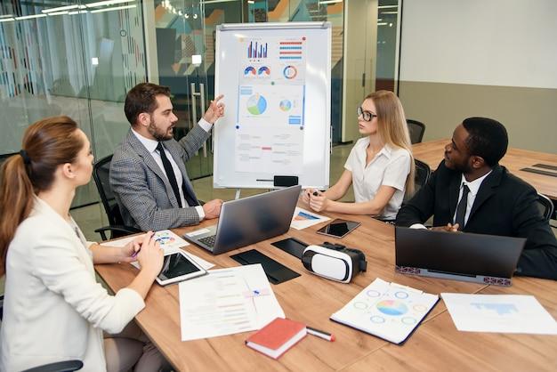 Seguro empresario barbudo explicando los gráficos mediante rotafolio a sus socios comerciales multiétnicos altamente calificados en la sala de reuniones de la oficina.