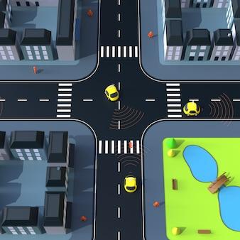 Sel-driving cars - ilustración 3d