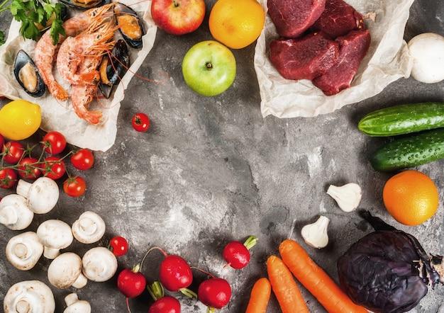 Selección de alimentos dietéticos saludables.