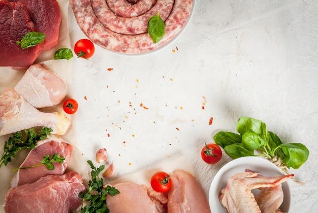 Selección de carne cruda